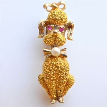 Vintage GOLD POODLE Brooch / Pendant 9ct with Rubies & Pearl Heavy Quality 1960s